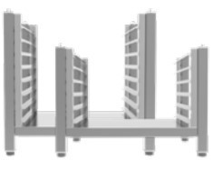 High open stand with lateral supports